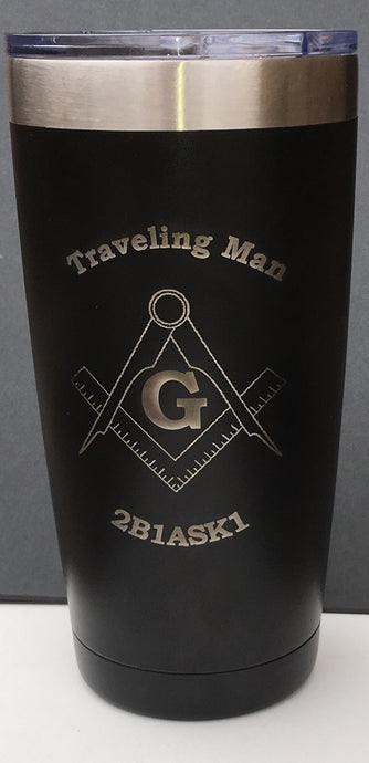 Traveling Man Mason Freemason Customizable 20 oz Tumbler