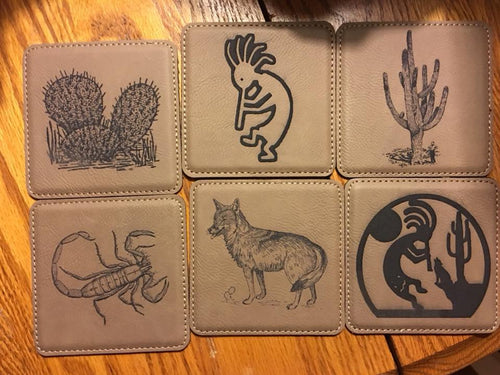 Arizona Southwest 6 Leatherette Coasters w/Holder