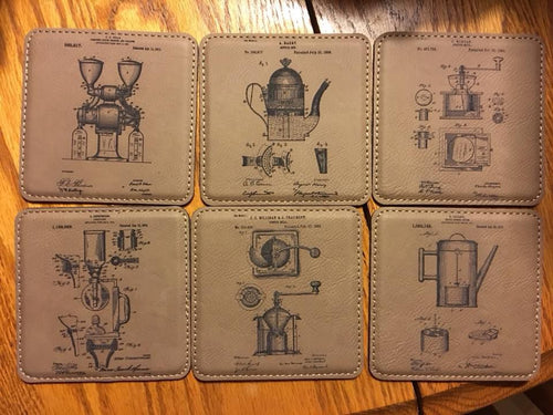 Set of 6 Coffee Patent Drawing Leatherette Coasters w/Holder