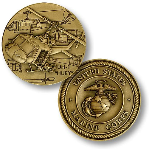 UH-1 Huey with USMC Logo Challenge Coin