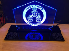 Load image into Gallery viewer, Navy Chief Customizable  LED Edge Lit Acrylic Desktop Challenge Coin holder Sign