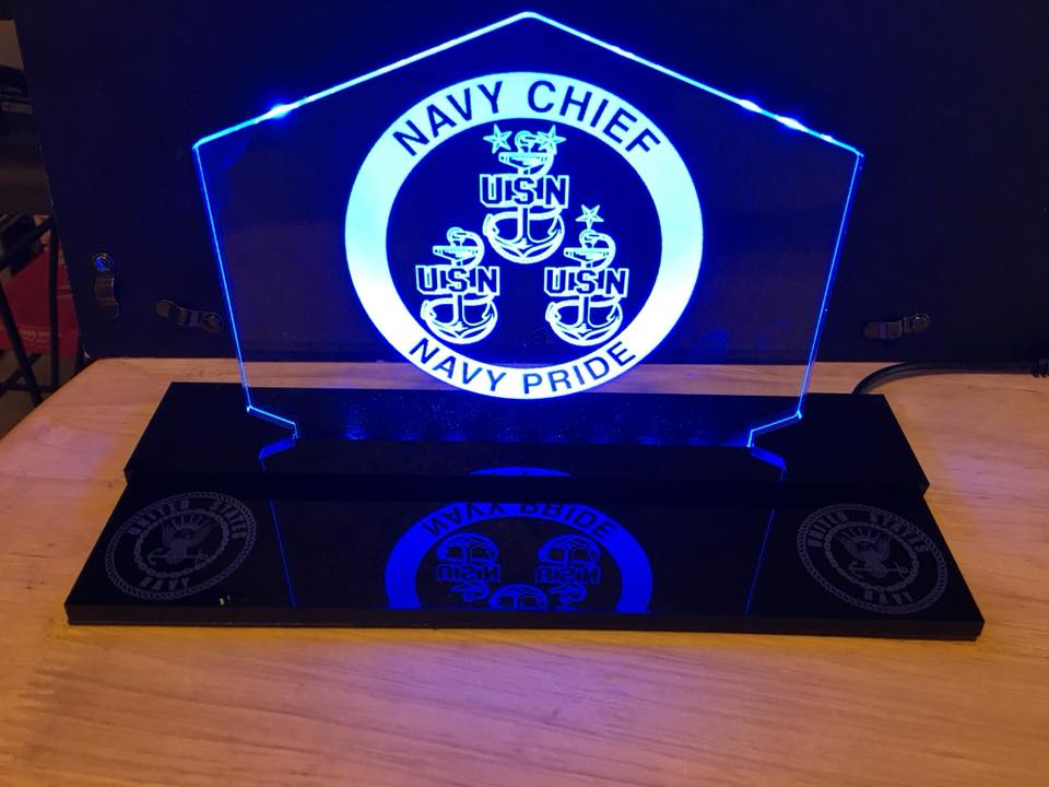 Navy Chief Customizable  LED Edge Lit Acrylic Desktop Challenge Coin holder Sign
