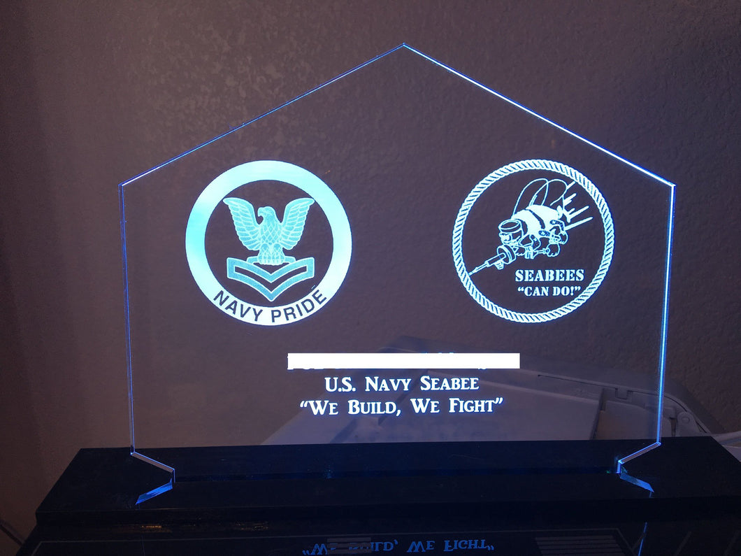 Customizeable Navy Seabee LED Edge Lit Acrylic Desktop Challenge Coin holder Sign