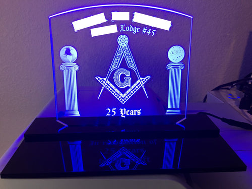Customizable Freemason LED Edge Lit Acrylic Desktop Sign