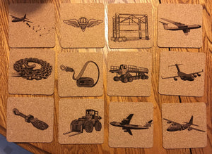 Set of 12 Mobile Aerial Port MAPS Themed Customizable Coasters