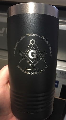 2nd Annual Lost Dutchman Degree Mason Black Customizable 20 oz Tumbler
