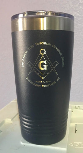 2nd Annual Lost Dutchman Degree  Black w/ Skull Crossbones Square Compass Tumbler