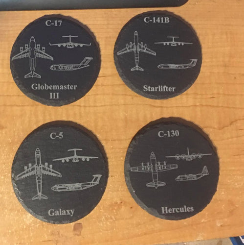 Set of 4 Slate Coasters Transport Aircraft