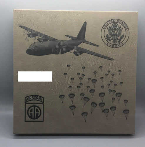 C-130 Paratroop Airborne Customizable Leatherette Wall Decor