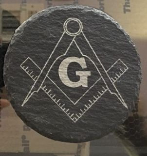 Slate Freemason Square and Compass Coaster Customizeable