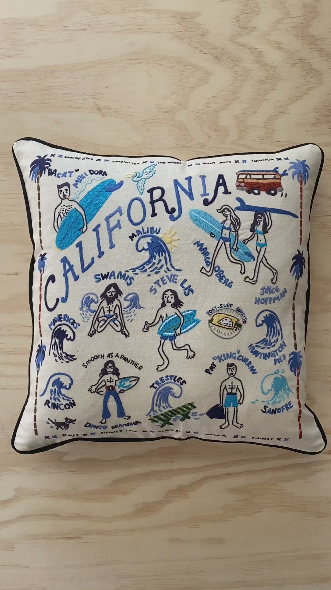 BEST COAST / Hand Embroidered Pillow