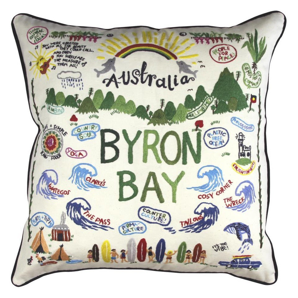 BYRON BAY  HAND / Hand Embroidered Pillow