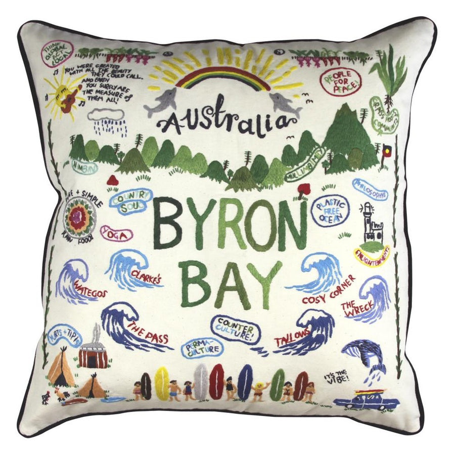 BYRON BAY  HAND EMBROIDERED PILLOW