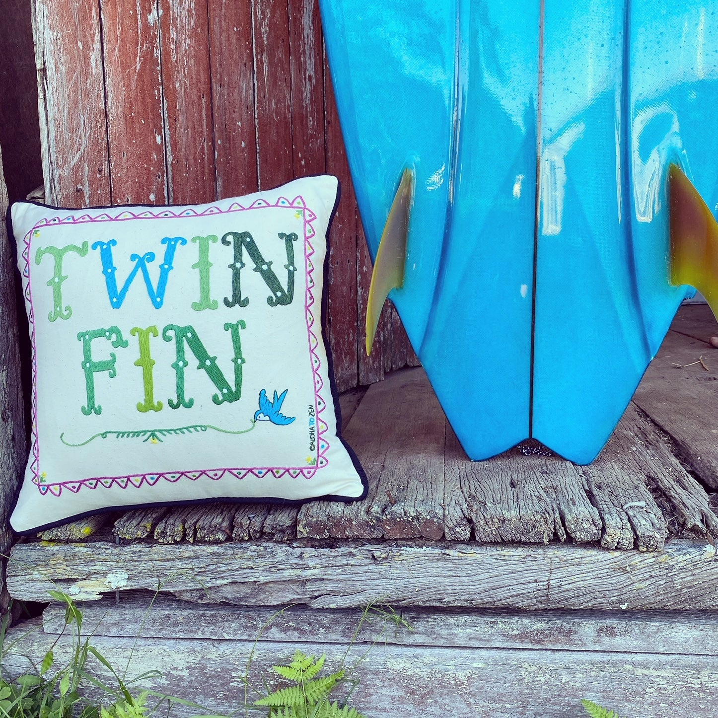 TWIN FIN / Hand Embroidered Pillow