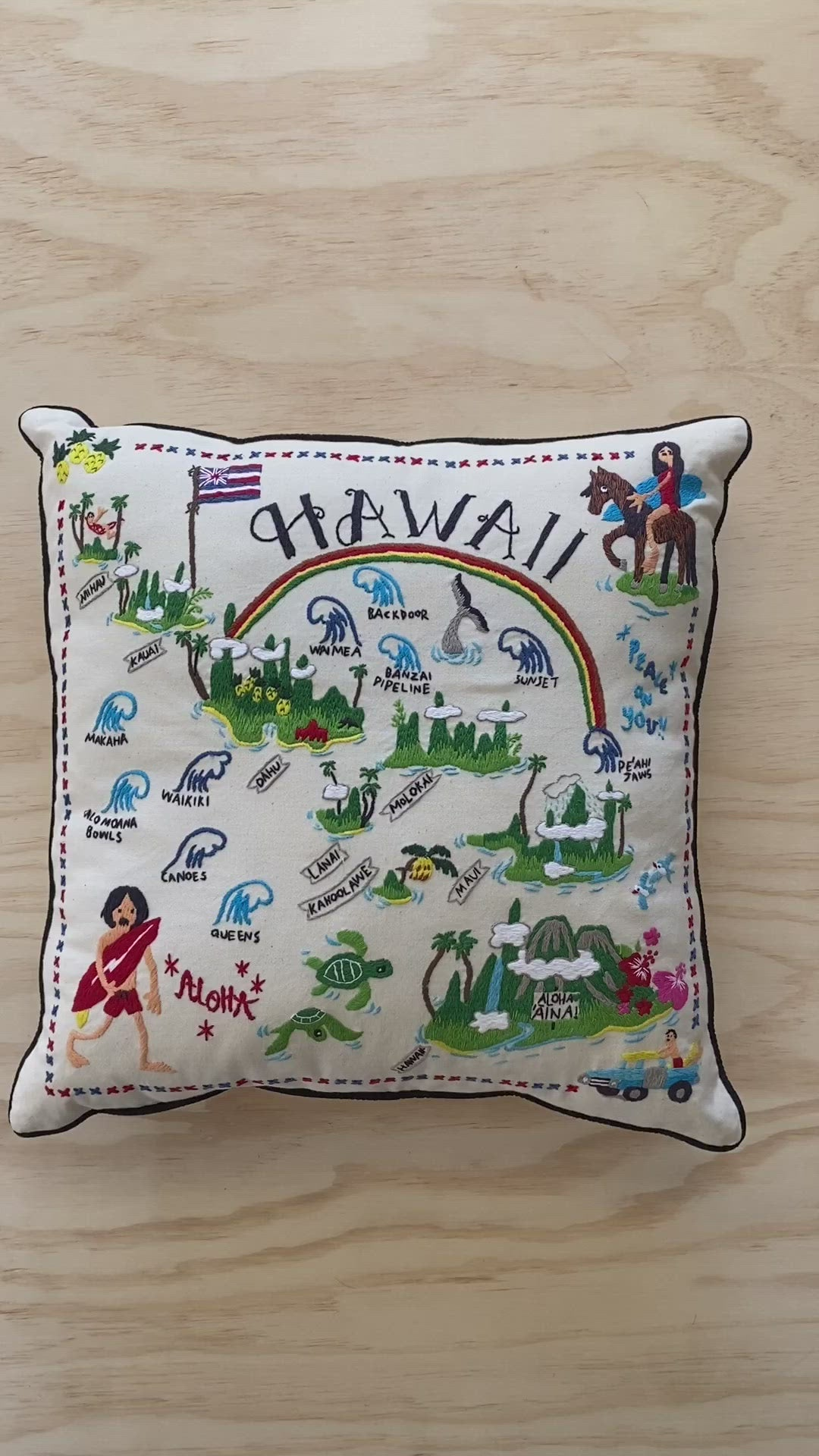 HAWAII  / Hand Embroidered Pillow