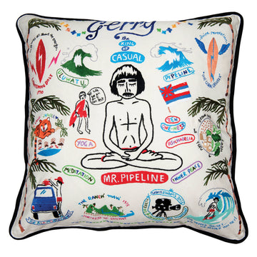 MR. PIPELINE / HAND EMBROIDERED PILLOW