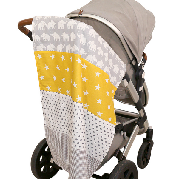 "Luxury Baby Blanket – Organic Cotton Baby Blanket, Elephant Yellow, 27"" x 39"""