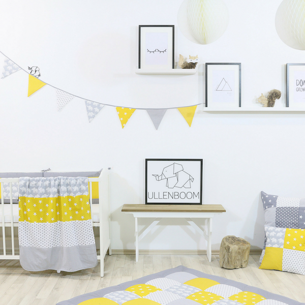 "Baby Room Curtains – 100% Cotton Baby Curtains, Yellow with Elephants, 110"" x 84"""