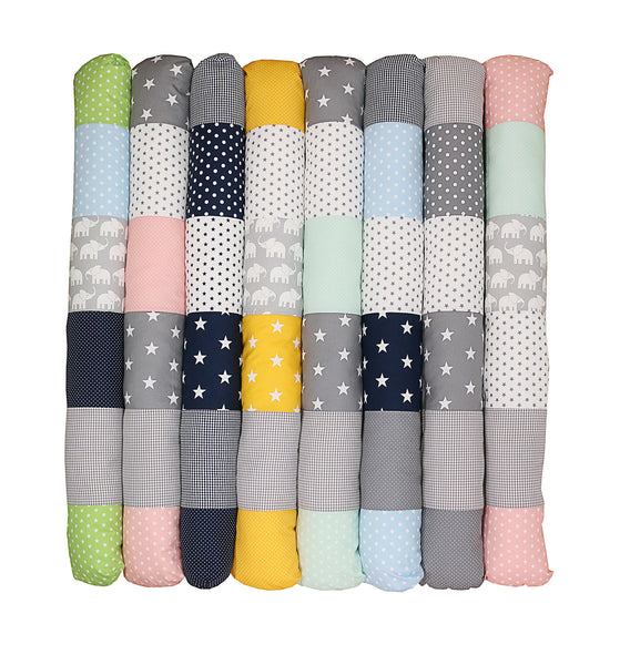 Snake Pillow – Bumper Pillow, Long Pillow For Baby, Grey Stars, 79""