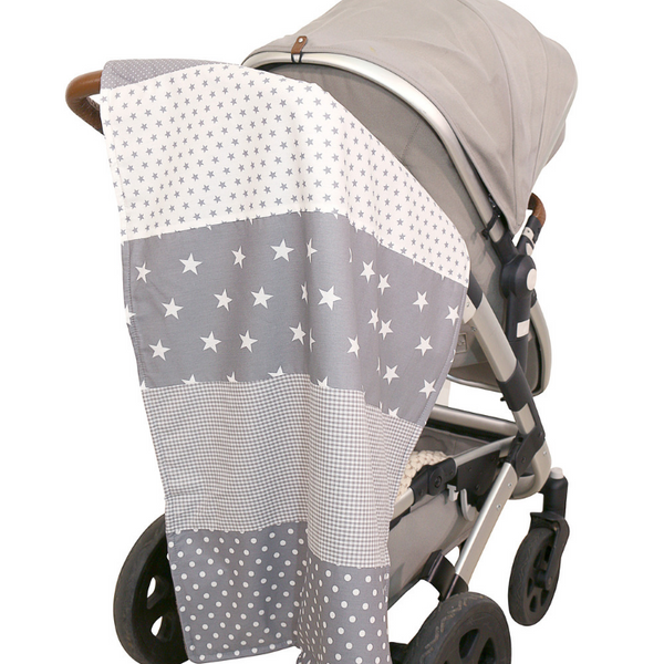 "Baby Blanket & Fleece Blanket 27"" x 39"" - Grey Stars"