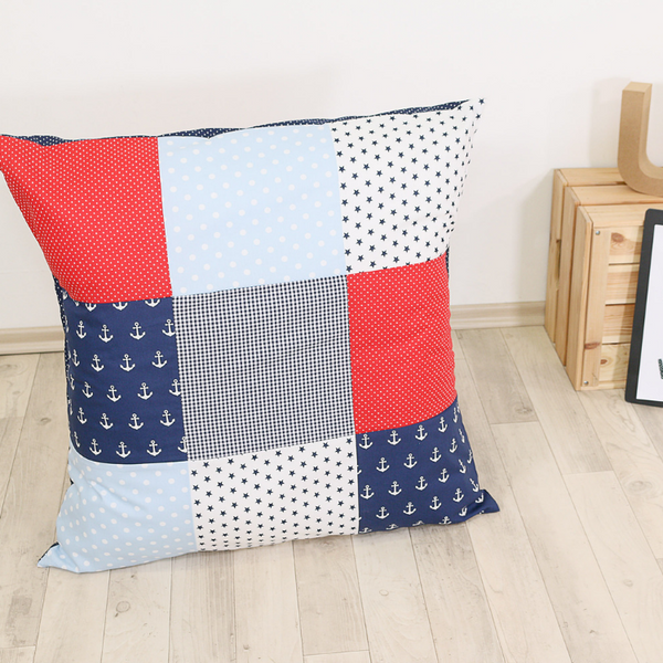 "Nursery Pillow Cover – Organic Cotton Baby Pillow Cover, Anchor Red Blue, 26"" x 26"""
