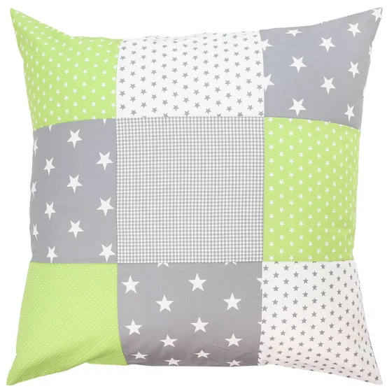 "Nursery Pillow Cover – Organic Cotton Baby Pillow Cover, Green Grey, 26"" x 26"""