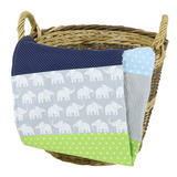 "Baby Blanket & Fleece Blanket 27"" x 39"" - Elephant Blue Green"