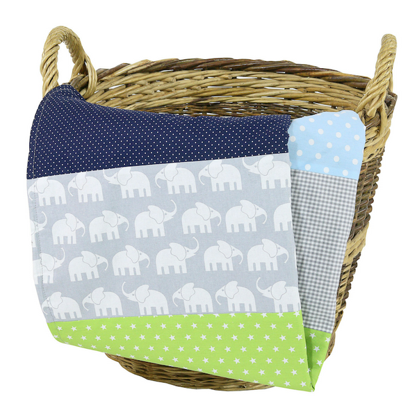 "Luxury Baby Blanket – Organic Cotton Baby Blanket, Elephant Blue Green, 27"" x 39"""