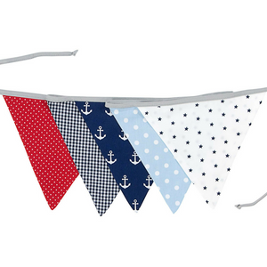 Fabric Banner Nursery Decor – Pennant Banner Decoration, Anchor Red Blue, 6 ft.