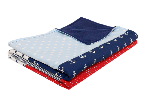"Luxury Baby Blanket – Organic Cotton Baby Blanket, Anchors Red Blue, 27"" x 39"""