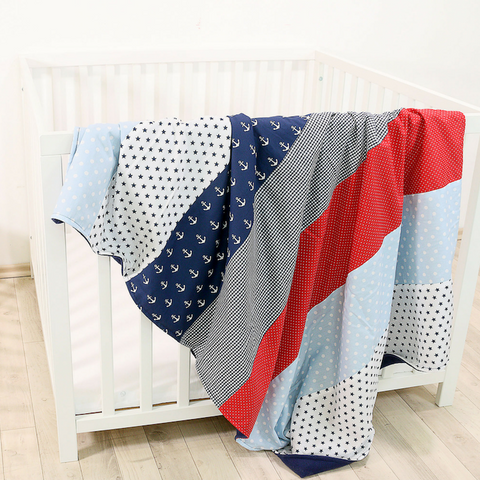 "Luxury Baby Blanket – Organic Cotton Baby Blanket, Anchor Red Blue, 39"" x 55"""
