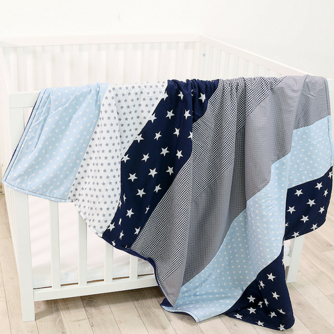 "Baby Blanket & Baby Quilt 39"" x 55"" - Blue Lightblue Grey"