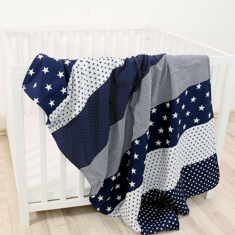 "Luxury Baby Blanket – Organic Cotton Baby Blanket, Blue Stars, 39"" x 55"""