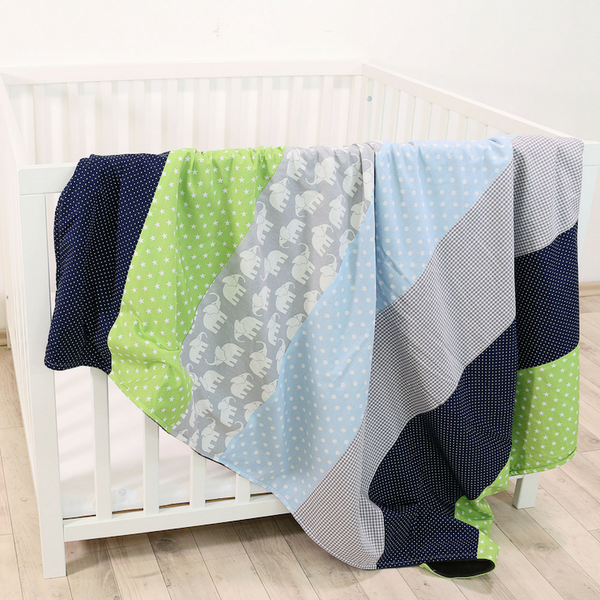 "Baby Blanket & Baby Quilt 39"" x 55"" - Elephant Blue Green"