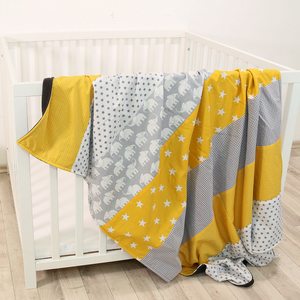 "Luxury Baby Blanket – Organic Cotton Baby Blanket, Elephant Yellow, 39"" x 55"""