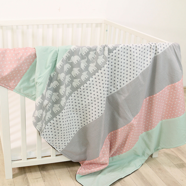 "Luxury Baby Blanket – Organic Cotton Baby Blanket, Elephant Mint Pink, 39"" x 55"""