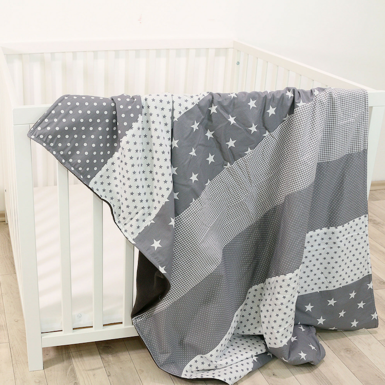 "Luxury Baby Blanket – Organic Cotton Baby Blanket, Grey Stars, 39"" x 55"""