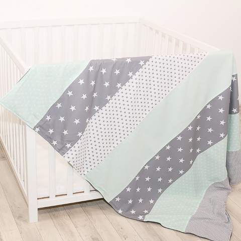 "Luxury Baby Blanket – Organic Cotton Baby Blanket, Mint Grey, 39"" x 55"""