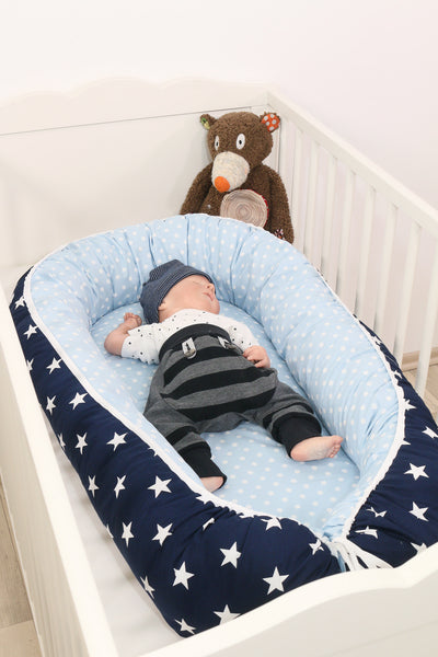 "Baby Lounger – Baby Sleeper Bed, Infant Nest, Light Blue and Grey with Stars, 22"" x 37"""
