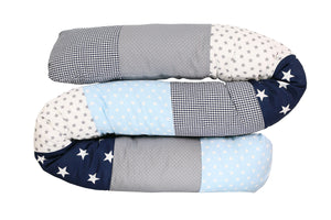 Snake Pillow – Bumper Pillow, Long Pillow For Baby, Light Blue Grey, 79""