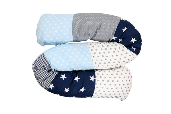 Snake Pillow – Bumper Pillow, Long Pillow For Baby, Light Blue and Grey, 63""