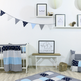 "Bunting & Nursery Garland 128"" - Blue Lightblue Grey"