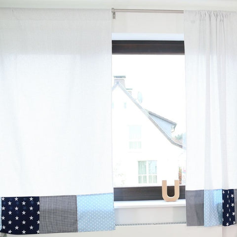 "Baby Room Curtains – 100% Cotton Baby Curtains, Light-blue and Grey with Stars, 110"" x 84"""