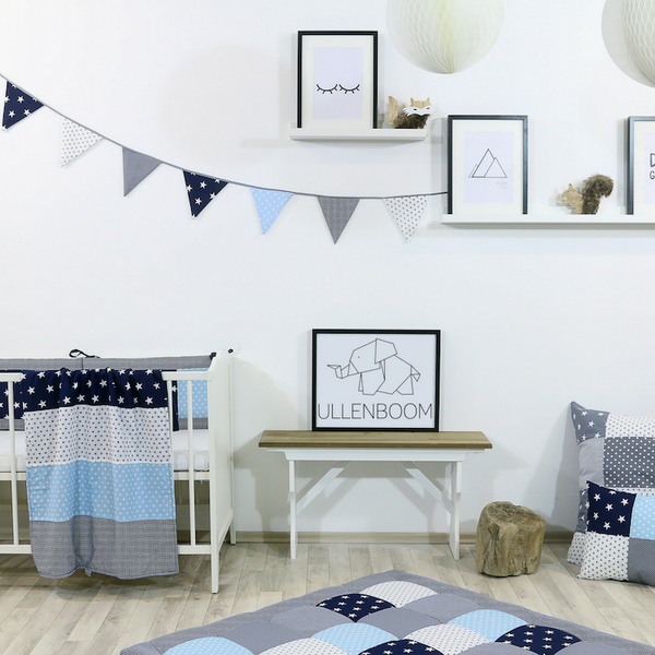 Fabric Banner Nursery Decor – Pennant Banner Decoration, Light Blue and Grey, 4 ft.