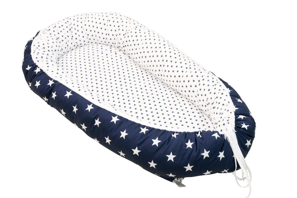 "Baby Lounger – Baby Sleeper Bed, Infant Nest, Blue with Stars, 22"" x 37"""