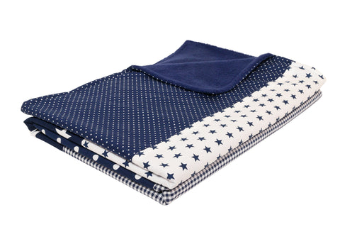 "Luxury Baby Blanket – Organic Cotton Baby Blanket, Blue Stars, 27"" x 39"""