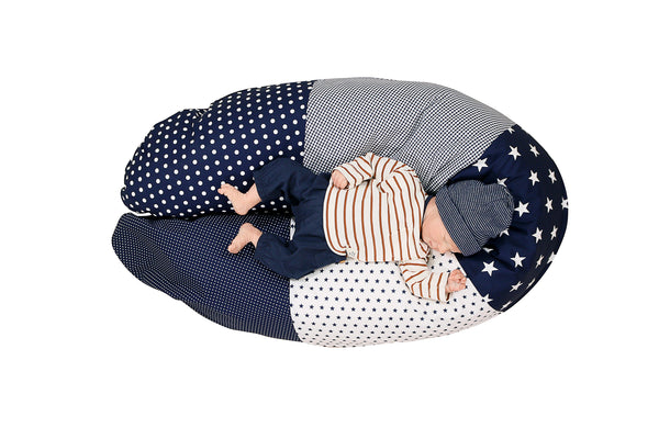 "Organic Nursing Pillow – Best Pregnancy Pillow for Side Sleepers, Blue Stars, 75"" x 15"""
