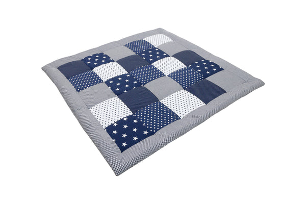 "Padded Baby Play Mat – Soft Cotton Baby Crawling Mat, Blue Stars, 47"" x 47"""
