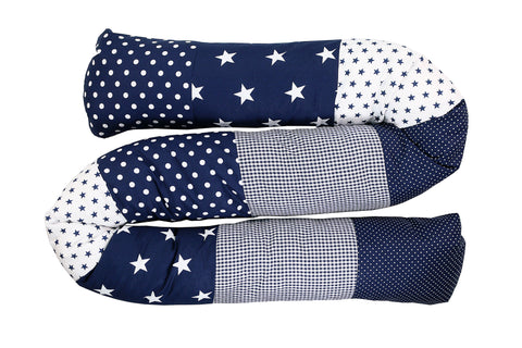 Snake Pillow – Bumper Pillow, Long Pillow For Baby, Blue Stars, 79""