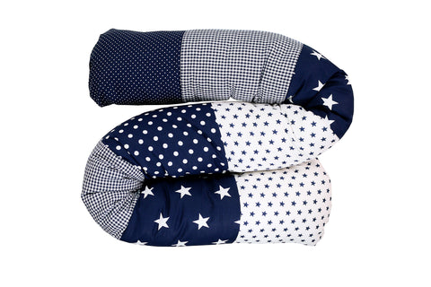 Snake Pillow – Bumper Pillow, Long Pillow For Baby, Blue Stars, 63""